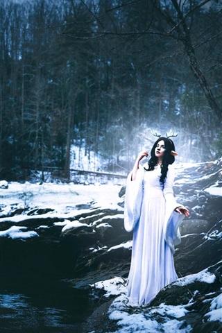iPhone Wallpaper Shelby Robinson, white dress girl, deer, stream, winter, creative