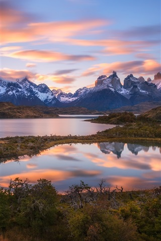 Patagonia South America >> Wallpaper South America, Chile, Patagonia, Andes mountains, lake, sunset 1920x1200 HD Picture, Image