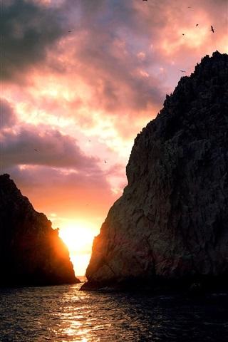 iPhone Wallpaper Sunset, sea, coast, island, sky, clouds, cliff, birds