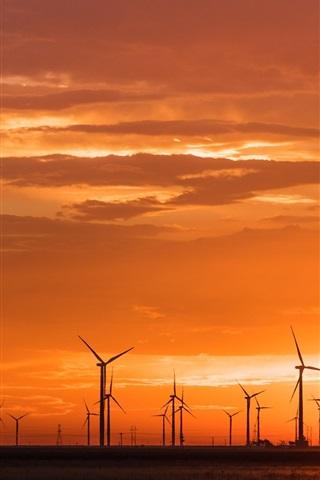 iPhone Wallpaper Sunset, windmills, warm style