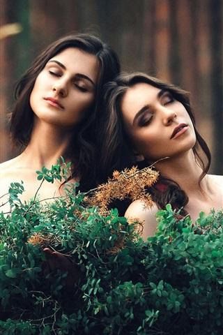iPhone Wallpaper Two girls, twigs, girlfriend