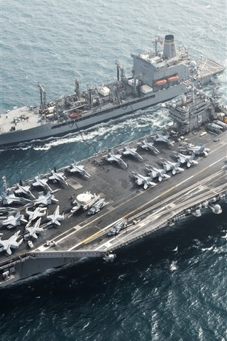 iPhone Wallpaper Aircraft carrier, USS Harry S. Truman CVN 75, sea, aircraft