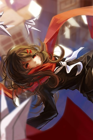 iPhone Wallpaper Anime girl flight, scarf, city, origami