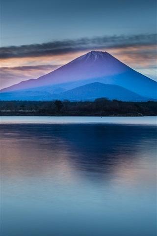 iPhone Wallpaper Beautiful Japan nature scenery, Mount Fuji, lake, clouds, dawn