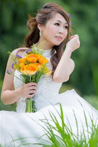 iPhone Wallpaper Beautiful white dress girl, Asian, bride, flowers, grass