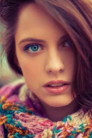 iPhone Wallpaper Blue eyes beautiful girl, face, hair, sweater