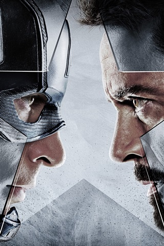 iPhone Wallpaper Captain America: Civil War, face to face