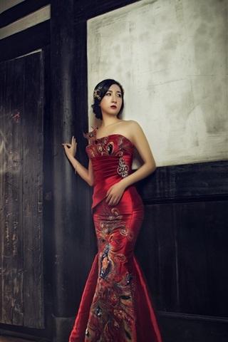 iPhone Wallpaper Chinese girl, beautiful cheongsam
