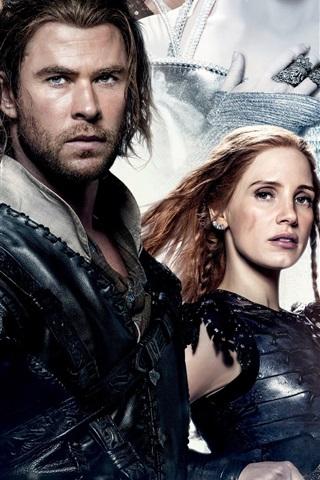 iPhone Hintergrundbilder Chris Hemsworth, Jessica Chastain, The Huntsman: Winterkrieg