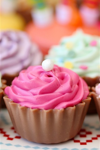 iPhone Wallpaper Colorful cream cakes, pastries, sweet food