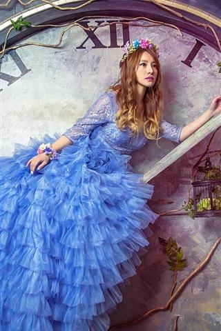 iPhone Wallpaper Creative pictures, blue dress girl, big watch