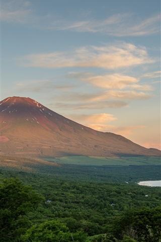 iPhone Wallpaper Fuji mountain, Japan, trees, clouds, lake, dusk