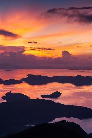 iPhone Wallpaper Hong Kong, China, morning, sea, coast, red sky, clouds, sunrise