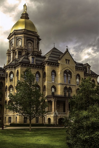 iPhone Wallpaper Indiana, Notre Dame University, USA, trees, clouds, dusk