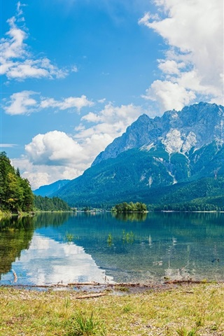 iPhone Wallpaper Lake, mountains, sky, white clouds, grass, trees, water reflection