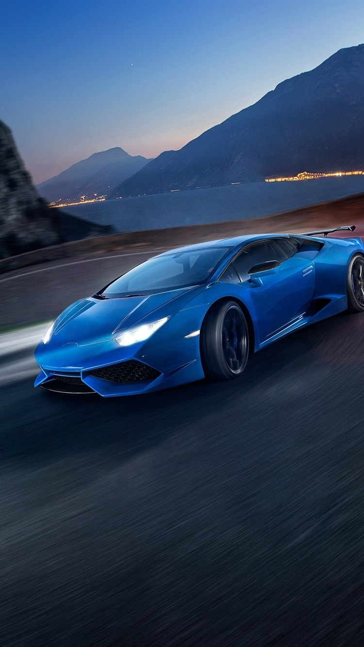 Lamborghini Huracan Blue Supercar Speed Night 750x1334 Iphone 8 7 6