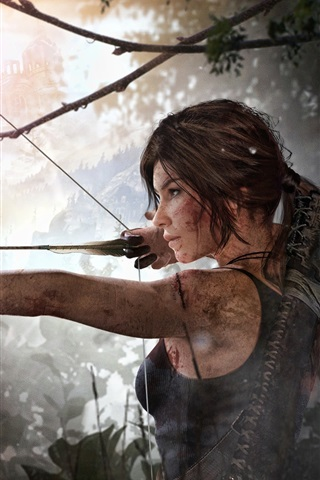 iPhone Wallpaper Lara Croft, Rise of the Tomb Raider, use bow