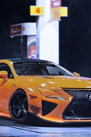 iPhone Wallpaper Lexus RCF-A yellow sport car, night