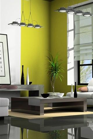iPhone Papéis de Parede Sala de estar, sofá, lâmpada, janela, estilo Japão