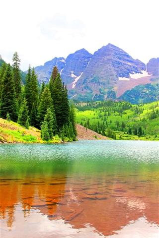 iPhone Wallpaper Maroon Bells, Colorado, USA, lake, mountains, trees