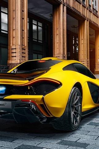 Mclaren P1 Yellow Supercar Rear View City 640x1136 Iphone 5