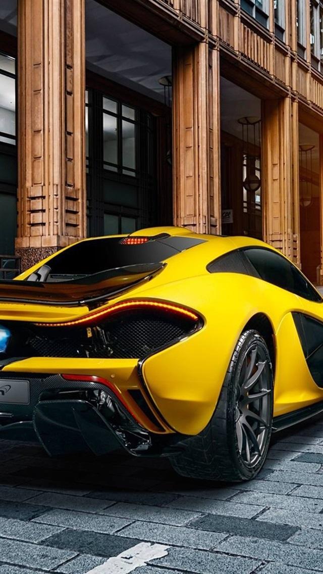 Mclaren P1 Yellow Supercar Rear View City 640x1136 Iphone 5 5s 5c Se Wallpaper Background Picture Image