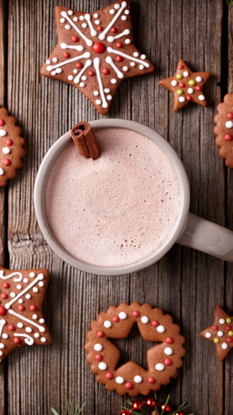 Merry Christmas Cookies Cup Drinks 750x1334 Iphone 8 7 6 6s