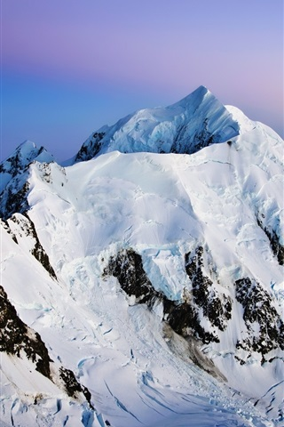 iPhone Wallpaper Mountains, snow, dusk