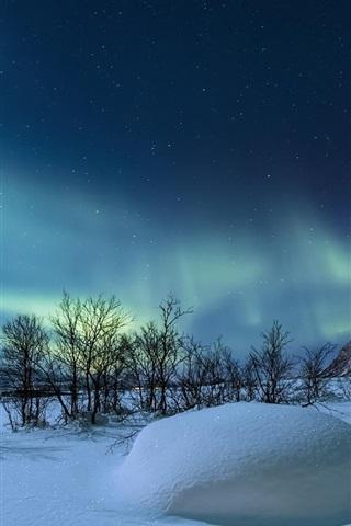 iPhone Wallpaper Norway, winter, night, stars, snow, mountains