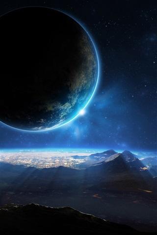 iPhone Papéis de Parede Planeta, espaço, sci fi, luz, montanhas