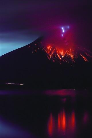 iPhone Wallpaper Sakurajima, volcano eruption, lava, natural disaster, Japan