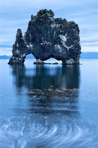 iPhone Wallpaper Sea, rocks arch, island, blue, dawn