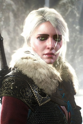 iPhone Wallpaper The Witcher 3: Wild Hunt, white hair girl