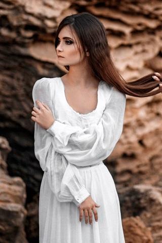 iPhone Wallpaper Two girls, long hair, white dress