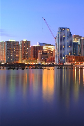 iPhone Wallpaper USA, New Jersey, port, evening, skyscrapers, lights
