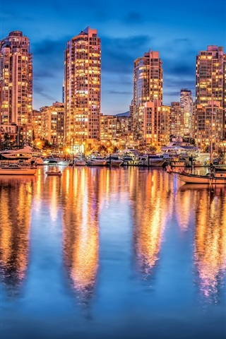 iPhone Wallpaper Vancouver, Canada, night city, lights, buildings, yachts, water reflection