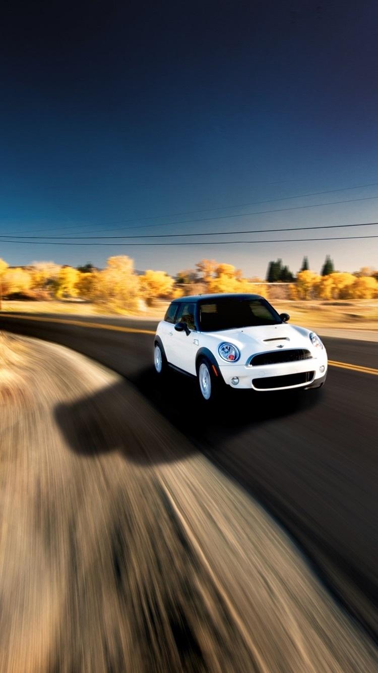 White Mini Cooper Car In Speed 750x1334 Iphone 8 7 6 6s
