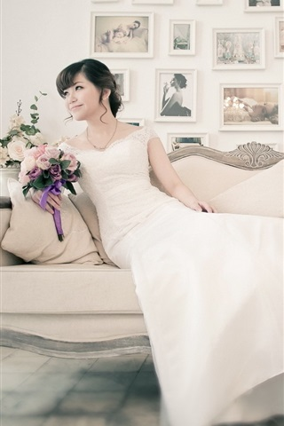 iPhone Wallpaper White dress asian girl, bride, sofa