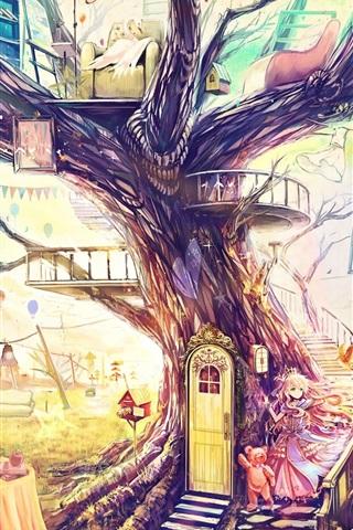 iPhone Wallpaper Beautiful art painting, magical world, fantasy house, tree, toys, sofa