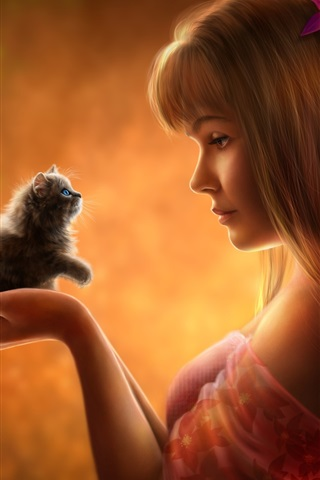 iPhone Wallpaper Beautiful fantasy girl with kitten