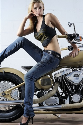 iPhone Wallpaper Beautiful girl and motorcycle