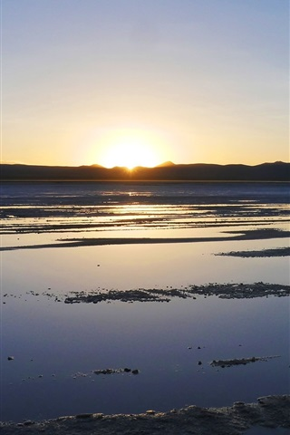 iPhone Wallpaper Beautiful sunset, Uyuni Salt Lake, Japan
