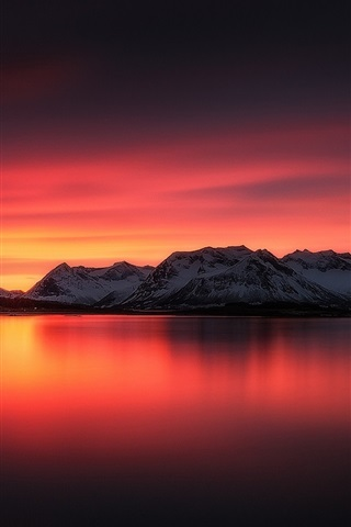 iPhone Wallpaper Beautiful sunset landscape, lake, red sky, mountains, snow