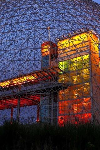iPhone Papéis de Parede Biosphere Museum, noite, iluminação, América do Norte