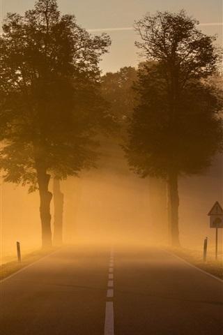 iPhone Wallpaper Dawn, morning, town, road, fog