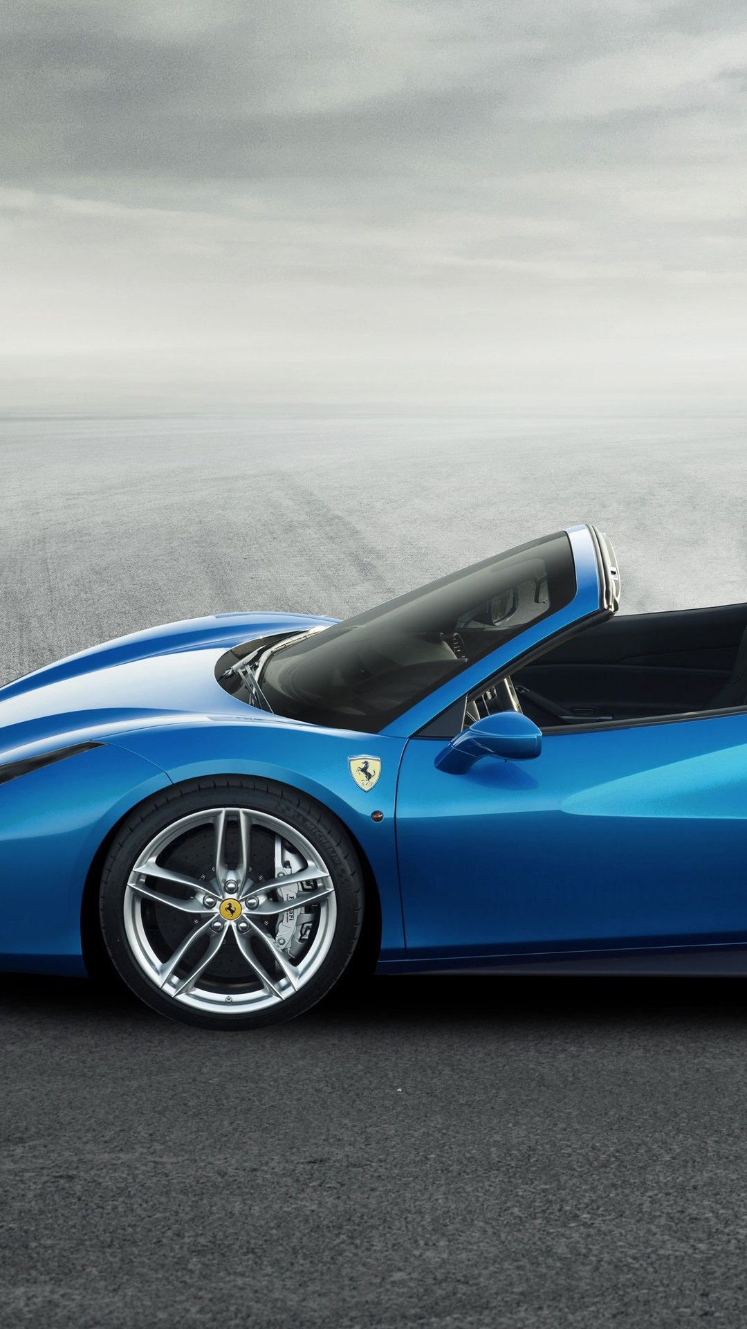 Ferrari 488 Spider Blue Supercar Side View 1080x1920 Iphone 8 7 6 6s Plus Wallpaper Background Picture Image