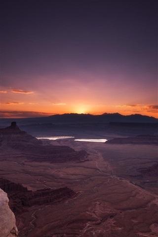 iPhone Wallpaper Grand Canyon National Park, USA, rocks, sunrise, red sky