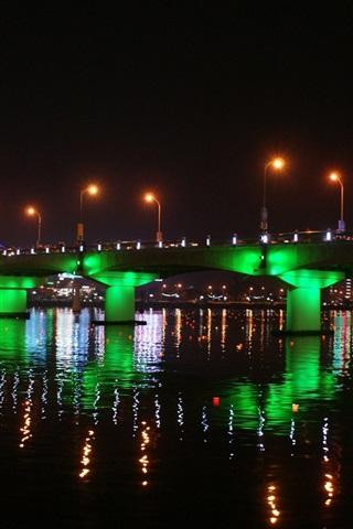 iPhone Wallpaper Han River, Korea, bridge, beautiful illumination, night, water reflection