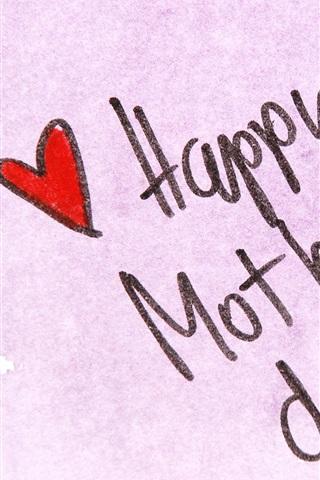 iPhone Обои Счастливый День матери, ручки, любовь сердца
