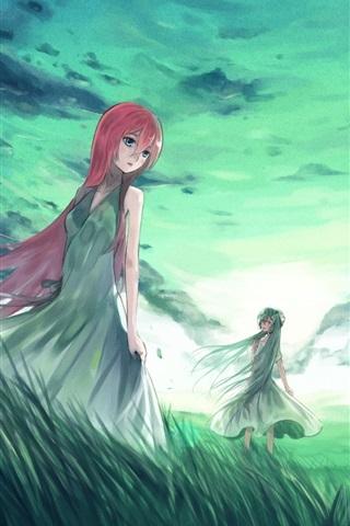 iPhone Wallpaper Hatsune Miku, anime, four girls, grass, clouds